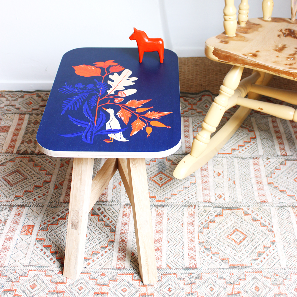 "Handprinted Side Table / Small Stool ""autumn"":"
