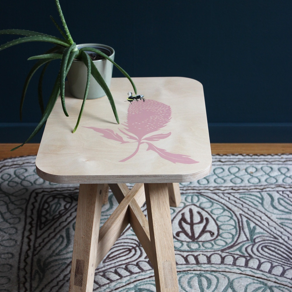 "Handprinted Side Table / Small Stool ""summer"":"